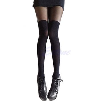 2017 Patchwork New Sexy Girl's Pantyhose Design Pattern lady Solid high Stockings Women mock high Over The Knee Ribbed Tights