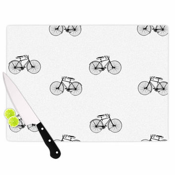 "Suzanne Carter ""Vintage Wheels"" Black White Cutting Board"