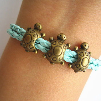 Antiqued Bronze Turtles Bracelet, Mint Green Braided Band, Personalized Bridesmaids Jewelry, Unique Friendship Graduation Gifts