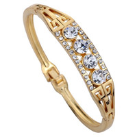 "Yazilind Jewelry Elegant Gold Plated Unique Design Carve Crystal Charming Bangle Bracelet Gift 2.2"" (Color: Gold) = 1958063428"
