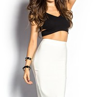 Lydia Creamy White High Waist Bandage Pencil Skirt