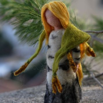 Birch maiden. Needle felted  Waldorf doll.  Made to order