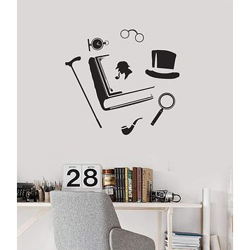 Vinyl Wall Decal Detective Set Spy Sherlock Holmes Investigation Stickers Mural  Unique Gift (ig5205)
