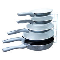 Evelots Metal Pot Storage Organizing Rack, Kitchen Supplies, 5 Pan Shelf Space