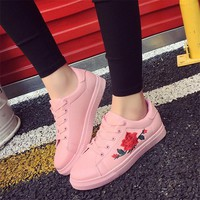 2017 Embroidery White Shoes Casual Students Girls Shoes Thick Heel Platform Breathable Moccasins Lolita Shoes Tenis Feminino 8