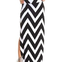 Double Slit Chevron Maxi Skirt by Charlotte Russe - Black/White