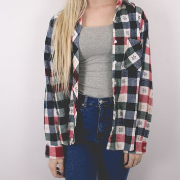 Vintage Red Navy Green Plaid Flannel Shirt