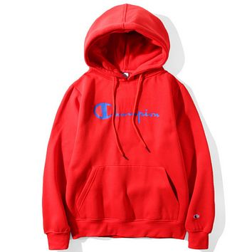 Champion classic letters printed men and women plus velvet hood hooded sweater jacket Red