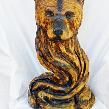 Bear Chainsaw Wood Carving Sculpture, Handmade Woodworking, Wood Gift, Artist Creation, OOAK, by Josh Carte, Hand Carved in Ohio, Bear Head