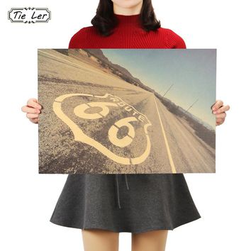 TIE LER Route 66 Retro Kraft Paper Poster Tin Signs Wall Art Painting House Coffee Bar Decor Vintage Wall Sticker 51x36cm