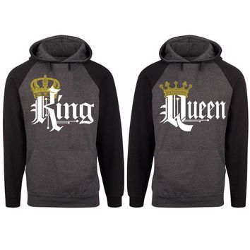 Royal King and Queen Two-tone Charcoal / Black Raglan Hoodie