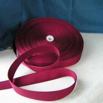 Burgandy Wine Dark Raspberry All Nylon Webbing, Halter Style, Pebble Weave. A lovely webbing style with many uses.