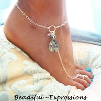 Barefoot Sandals - Sterling Silver Abalone Anklet, Barefoot Jewelry & Toe Ring, Faerie Jewelry - Available in 14k Gold Filled too