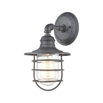Vandon 1-Light Sconce in Aged Zinc with Clear Glass