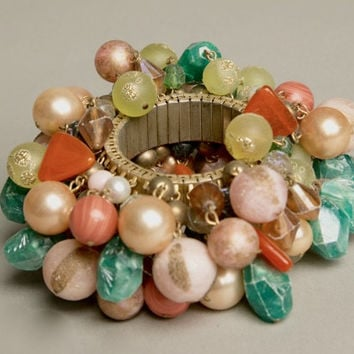 Cha Cha Bracelet Heavily Beaded Green Orange Golden Pearls Stunning Vintage Costume Jewelry