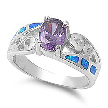 Oval Amethyst Cubic Zirconia in a Prong Set with Blue Opal Inlay Set in the Band