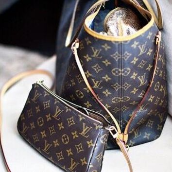 LV Women Shopping Leather Tote Handbag Shoulder Bag Two-piece G-LLBPFSH
