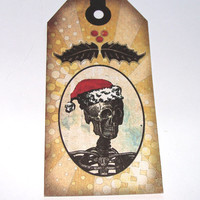 Gothic Christmas Tags Skeleton Santa Wreath Of Skulls Skeletal Deer Tree Set of 5 And Bookmark