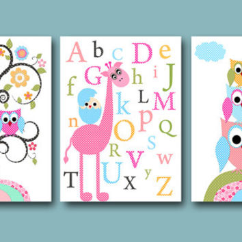Childrens Art Kids Wall Art Baby Girl Room Decor Baby Girl Nursery Decor Kids Art Print set of 3 11x14 Owls Decor Giraffe Alphabet Rose Pink