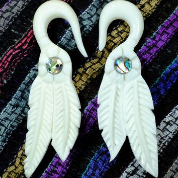 Beautifully Detailed Hand Carved Bone Feather Abalone Gauged Earrings.