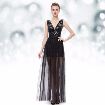 Sexy Two Piece V neck Sequined Mini Cocktail Dresses Little Black HE08492BK Ever Pretty 2016 Free Shipping