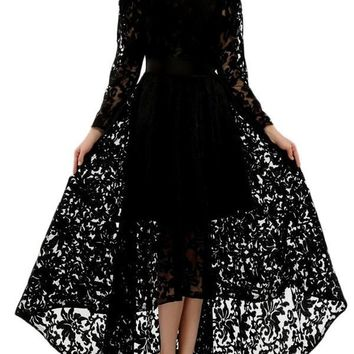 New Black Patchwork Lace Pleated High-Low Long Sleeve Round Neck Elegant Homecoming Party Maxi Dress