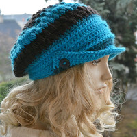 Turquoise and brown Crocheted  PEAKED CAP beanie Slouchy Winter Fashion , very warm,women hat,Girls Hat,unique gifts