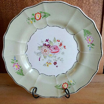 Vintage Porcelain German Lime Green and Rose Design Plate Scalloped Edges