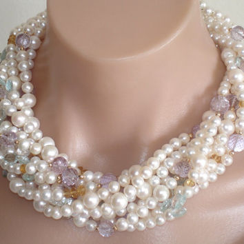 Ashira Breathtaking 9 strand Freshwater White Pearls, RARE Pink Lavender Amethyst, Exquisite Aquamarine Briolettes, Citrine - COUTURE PIECE