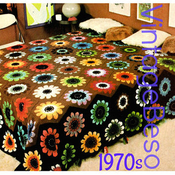 Peony Bedspread Crochet Pattern INSTANT DOWNLOAD PDF Vintage 1970s Afghan Crochet Pattern Throw Blanket Cover Home