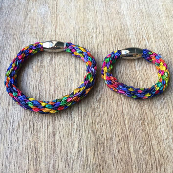 Mommy and me bracelets, mom and daughter bracelets, kids bracelets, Rainbow matching Bracelets, Colorful Bracelets