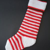 Christmas Stocking, crochet christmas sock, christmas decoration, crochet decoration - Red, Green or stripes - Cute christmas decor