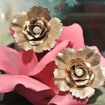 1950s 50s Mid Century Earrings Coro Rhinestone Earrings Clip On Open Rose Diamente Rhinestone Flowers Floral Earrings High Fashion Jewelry