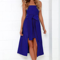 Cameo Wake Me Cobalt Blue Strapless Midi Dress