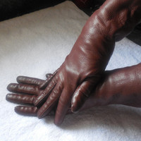Vintage Women's Leather Gloves Brown Size 7 - Length 11 1/2""