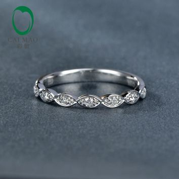 Caimao Jewelry 0.14ct  Natural Diamond 14k White Gold Half Eternity Engagement Wedding Band Ring