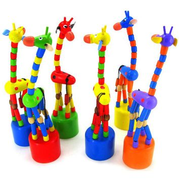 Kids Intelligence Toy Dancing Stand Colorful Rocking Giraffe Wooden Toy