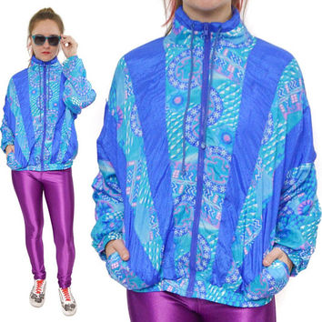 Vintage 80s Avait Sportif Multi-Color Windbreaker Jacket