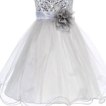 Silver Sequin Party Dress with Lettuce Hem Tulle Skirt Baby Girls 3M-24M