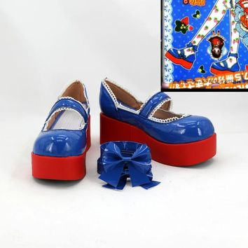 Yumeiro Patissiere Amano ichigo Lolita Blue cos Cosplay Shoes Boots For Halloween Christmas For Women Girls