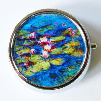 Monet, Water Lilies, Pill Box, Pill Case, Pill Container, Pink, Mint Container, Candy Container, Blue, French Painting