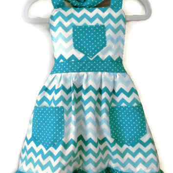 Girl's Chevron and Polka Dot Apron with Ruffled Hem, Teal and White, Sizes  L 7-8, XL 10-12