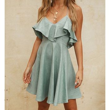 Summer new women's fashion sexy ruffled sling slim halter slim dress