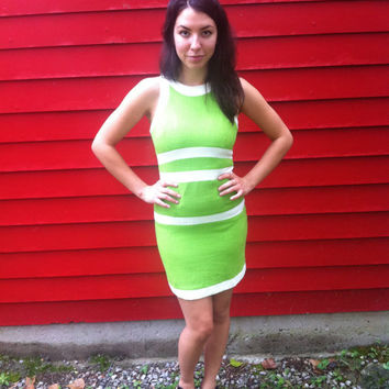 Mod Chartreuse Green Dress // Lime Green // by HawkShopVintage