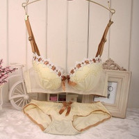 High quality women push up bra sets embroidery bra set lace underwear lingerie sets bra + panties