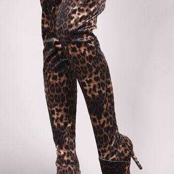 Anne Michelle Leopard Pointy Toe Stiletto Over-The-Knee Boots