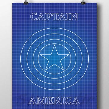 Superhero Captain America blueprint wall art