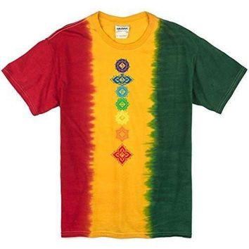 Yoga Clothing for You Mens Floral Chakras Rasta Tie Dye Tee Shirt