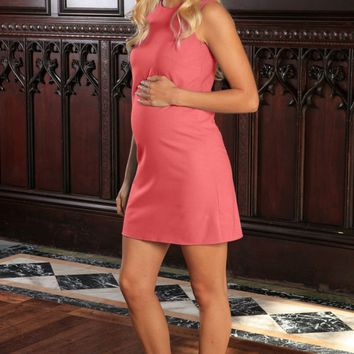 Coral Pink Stretchy Sleeveless Summer Shift Dress - Women Maternity