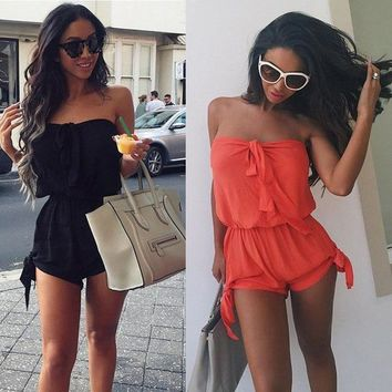 Open Back Chiffon Floral Romper Womens Summer Playsuits Jumpsuit 2015 Summer Cute Feminino Vestidos Female Overalls Clothing